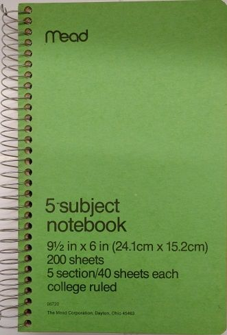 Mead (06720) 200 sheets college ruled 5 subject notebook 9 5
