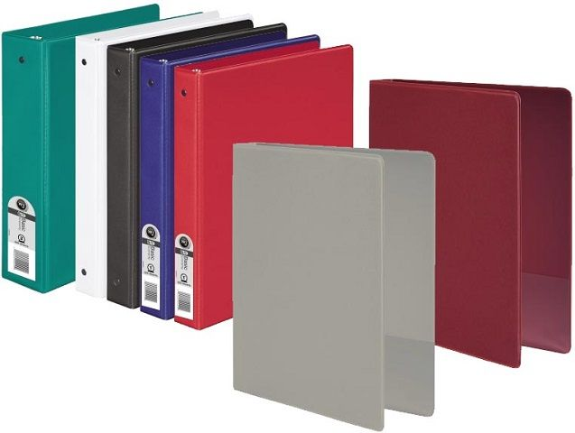 3 ring vinyl binder 2 inch ring size assorted colors 11 x 8 5