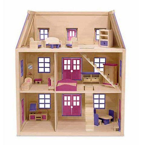 Melissa Doug Multi Level Wooden Dollhouse With 19 Pcs Furniture