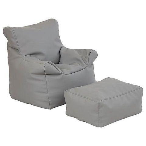 Softzone Bean Bag Chair And Ottoman Set Gray Light Gray Color