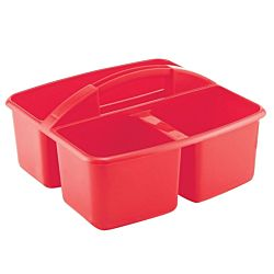 3 Compartment Small Art Caddy Available in blue, green, red, and yellow