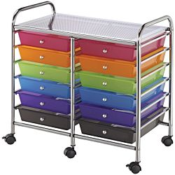 12-Drawer Organizer Cart Available in Assorted Colors, Multi-Color, Gray, White