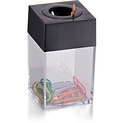 Officemate OIC Large Clip Dispenser with Magnetic Top, Clear/Black