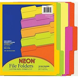 Pacon NEON File Folders Letter Size, Assorted Colors ,10 per pack