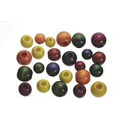 Darice Large Wood Beads Assorted Colors Round Assorted Sizes