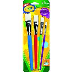 Crayola® Flat Paint Brush Set, Non-Toxic, 4/Pack (05-3520)