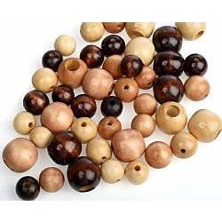 Round Assorted Natural Tone Wood Beads