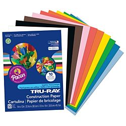 Pacon Tru-Ray Construction Paper, 9-Inches by 12-Inches, 50-Count, Assorted, 103031