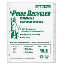 Insertable Ring Book Index - Letter - 8 Tab / Set Clear