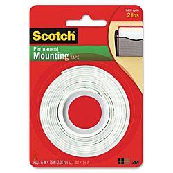 Scotch Foam Mounting Double-Sided Tape, 1/2 Wide x 75 Long