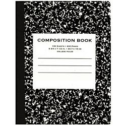Composition Book, Wide Ruled, 9.75 x 7.50 Inch Sheet Size, Black Marble, Bookbound, 100 Sheets