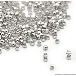 Beadalon Crimp Beads Spacer Stopper 2mm for Jewelry Making Size #1, 144/Pkg, Silver Plated