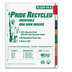 Insertable Ring Book Index - Letter - 8 Tab / Set Assorted Colors
