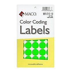 MACO Neon Green Round Color Coding Labels, 3/4 Inches in Diameter, 1000 Per Box, MR1212-10