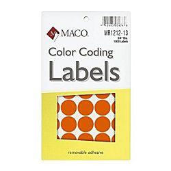 MACO Neon Orange Round Color Coding Labels, 3/4 Inches in Diameter, 1000 Per Box ,MR1212-13