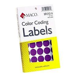 MACO Purple Round Color Coding Labels, 3/4 Inches in Diameter, 1000 Per Box ,MR1212-14