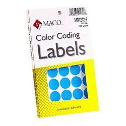 MACO Light Blue Round Color Coding Labels, 3/4 Inches in Diameter, 1000 Per Box ,MR1212-3