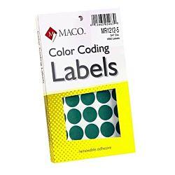 MACO Green Round Color Coding Labels, 3/4 Inches in Diameter, 1000 Per Box, MR1212-5