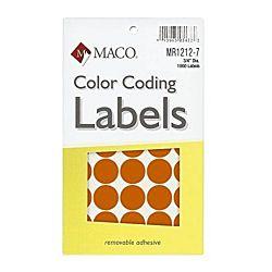 MACO Orange Round Color Coding Labels, 3/4 Inches in Diameter, 1000 Per Box ,MR1212-7