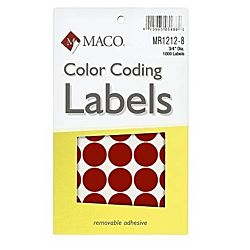 MACO Red Round Color Coding Labels, 3/4 Inches in Diameter, 1000 Per Box MR1212-8