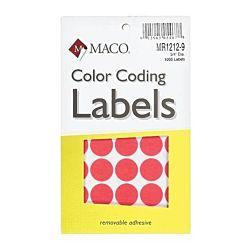 MACO Neon Red Round Color Coding Labels, 3/4 Inches in Diameter, 1000 Per Box. MR1212-9