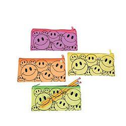 Vinyl Smile Face Pencil Cases- 12/pkg.