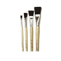 Short Handle Easel Flat Brushes, Black Bristle, Set Of 4