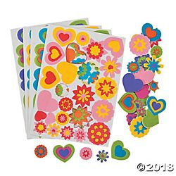 Fabulous Foam Self-Adhesive Shapes 500/pkg - Hearts & Flowers