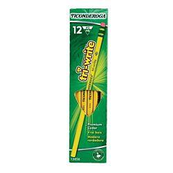 Dixon Ticonderoga Tri-Write Triangular Standard Size 2 Pencils, Box of 12, Yellow (13856)