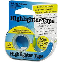 Lee , 1/2-Inch Wide 720-Inch Long Removable Highlighter Tape, Economy Size with Refillable Dispenser, Yellow ,13975