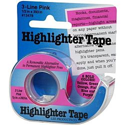 Lee , 1/2-Inch Wide 720-Inch Long Removable Highlighter Tape, Economy Size with Refillable Dispenser, Pink ,13978
