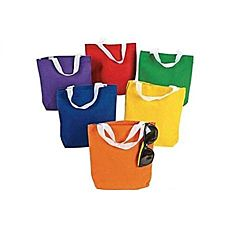Small Primary Color Canvas Tote Bags - 12/pkg