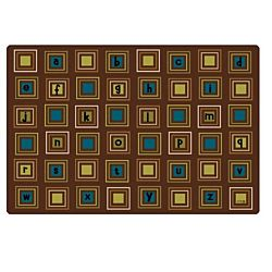 Kids Literacy Squares Nature Carpet  8' x 12'