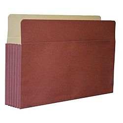 Kleer-Fax Red Rope Vertical File Pocket with Tyvek Gusset, Letter Size, Expands to 3 1/2 Inches