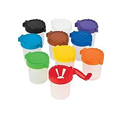 No Spill Paint Cups with 10 assorted color lids