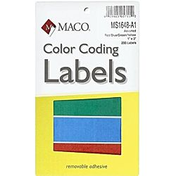 MACO Assorted Primary Rectangle Color Coding Labels, 1 x 3 Inches, 200 Per Box (MS1648-A1)
