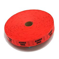 Single Admit Ticket Roll, 2000ct, Red