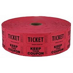 Double Roll Raffle Tickets, 2000ct, Red
