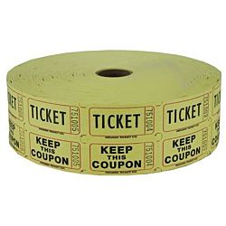 Double Roll Raffle Tickets, 2000ct, Yellow