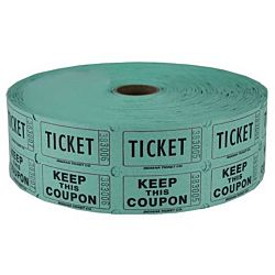 Double Roll Raffle Tickets, 2000ct, Green