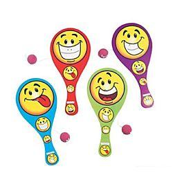 Goofy Smile Face Paddleball Games - 12/pk