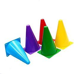 Assorted Colors Plastic Stiff Activity Traffic Cones - Pack of 12,   8 1/2