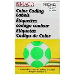 MACO Neon Green Round Color Coding Labels, 1-1/4 Inches in Diameter, 400 Per Box MR2020-GG