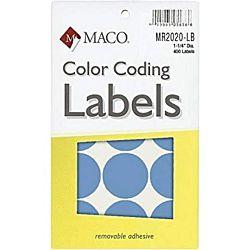 MACO Light Blue Round Color Coding Labels, 1-1/4 Inches in Diameter, 400 Per Box MR2020-LB