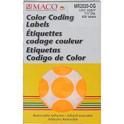 MACO Orange Round Color Coding Labels, 1-1/4 Inches in Diameter, 400 Per Box MR2020-OG