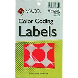 MACO Neon Red Round Color Coding Labels, 1-1/4 Inches in Diameter, 400 Per Box MR2020-RG