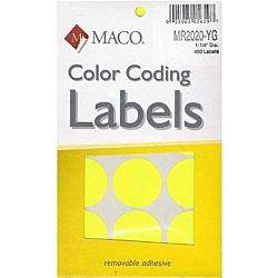 MACO Yellow Neon Round Color Coding Labels, 1-1/4 Inches in Diameter, 400 Per Box MR2020-YG