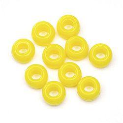 Pony Beads Plastic Opaque Yellow 9mm 480 pieces