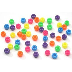 Pony Beads Acrylic Neon Colors, 9mm 1 lb Big Value