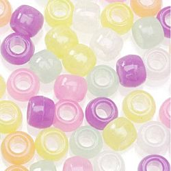 Pony Beads Acrylic Glow in the Dark Colors, 9mm 1 pound  Big Value